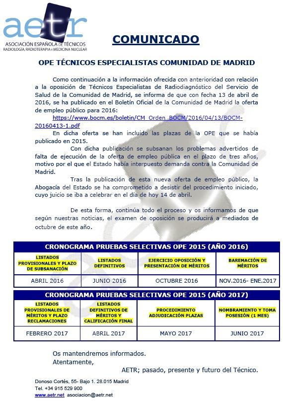 COMUNICADO – OPE TÉCNICOS ESPECIALISTAS COMUNIDAD DE MADRID