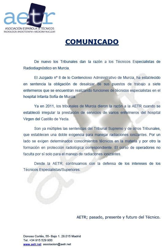 COMUNICADO HOSPITAL REINA SOFÍA (MURCIA)