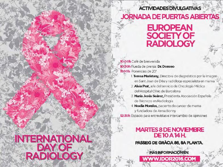 AETR con la Sociedad Europea de Radiología (ESR) en su celebración del IDoR-2016 en Barcelona el 08/XI/2016