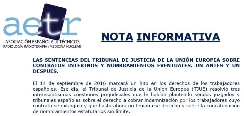SENTENCIAS DEL TRIBUNAL DE JUSTICIA DE LA U.E. SOBRE CONTRATOS INTERINOS Y NOMBRAMIENTOS EVENTUALES