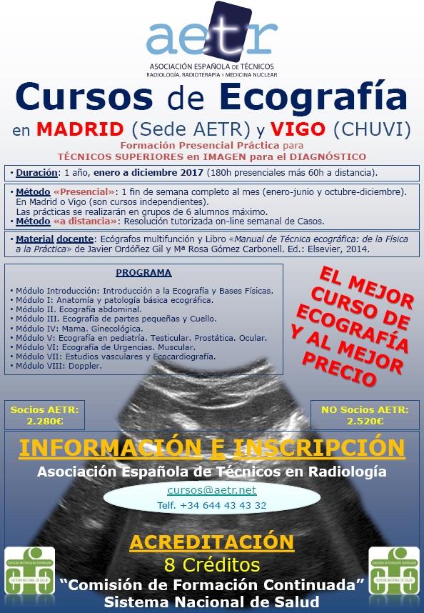 Cursos Ecografía 2017 en Madrid (Sede AETR) y Vigo (CHUVI)