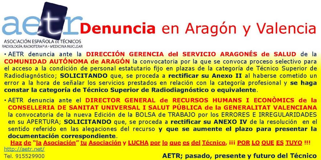 AETR Denuncia en Aragón y Valencia