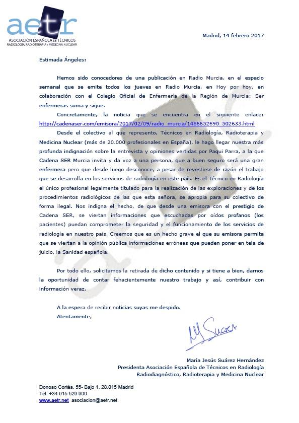 Denuncia Grupo Prisa/Cadena SER Murcia entrevista ser enfermera