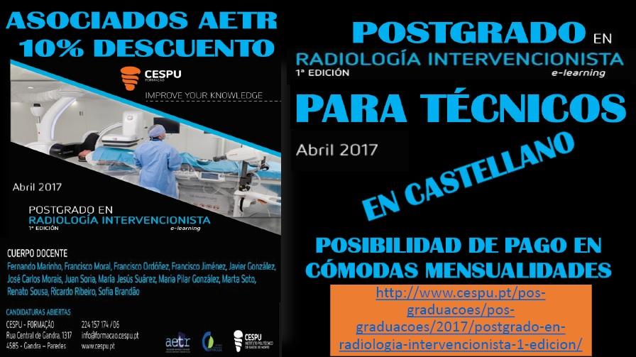 Postgrado online de Universidad CESPU (Portugal) en RADIOLOGÍA INTERVENCIONISTA para Técnicos (en español)