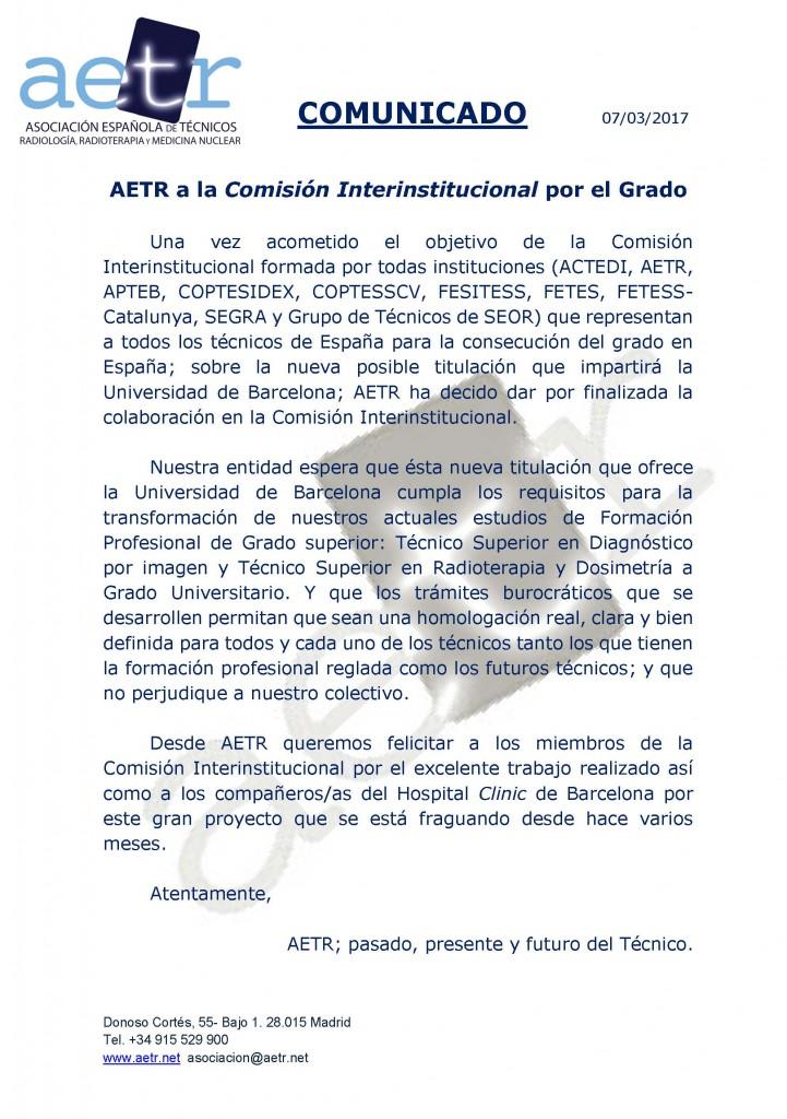 Comunicado AETR a la Comisión Interinstitucional por el Grado