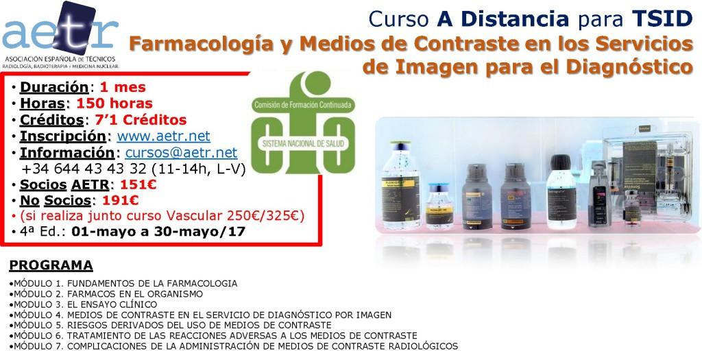 Curso On-Line para TSID – Farmacología y Medios de Contraste en los Servicios de Imagen para el Diagnóstico