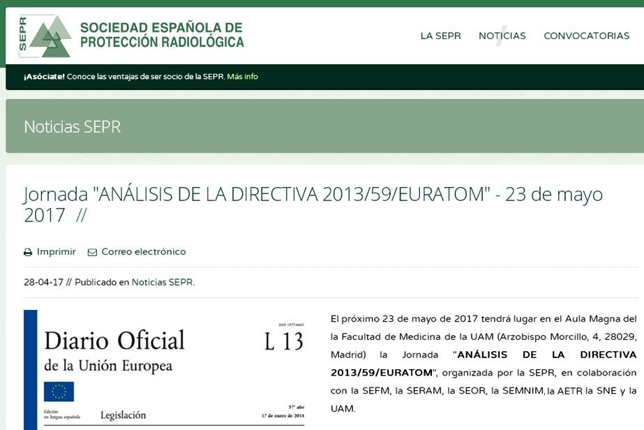 "Jornada ""Análisis de la DIRECTIVA 2013/59/EURATOM"""