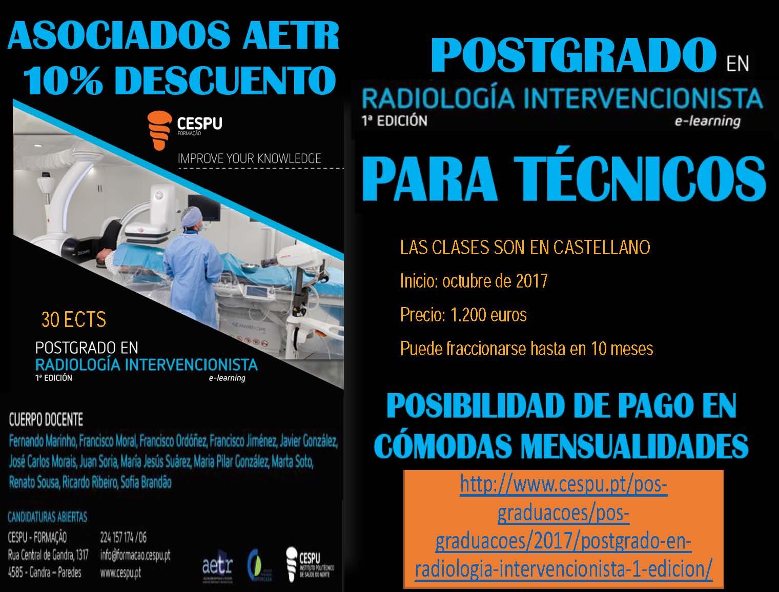 Postgrado en Radiología Vascular Intervencionista PARA TÉCNICOS de la Universidad CESPU (Portugal)