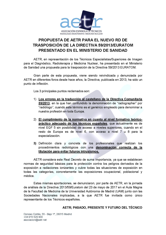 PROPUESTA DE AETR PARA EL NUEVO RD DE TRASPOSICIÓN DE LA DIRECTIVA 59/2013/EURATOM PRESENTADO EN EL MINISTERIO DE SANIDAD