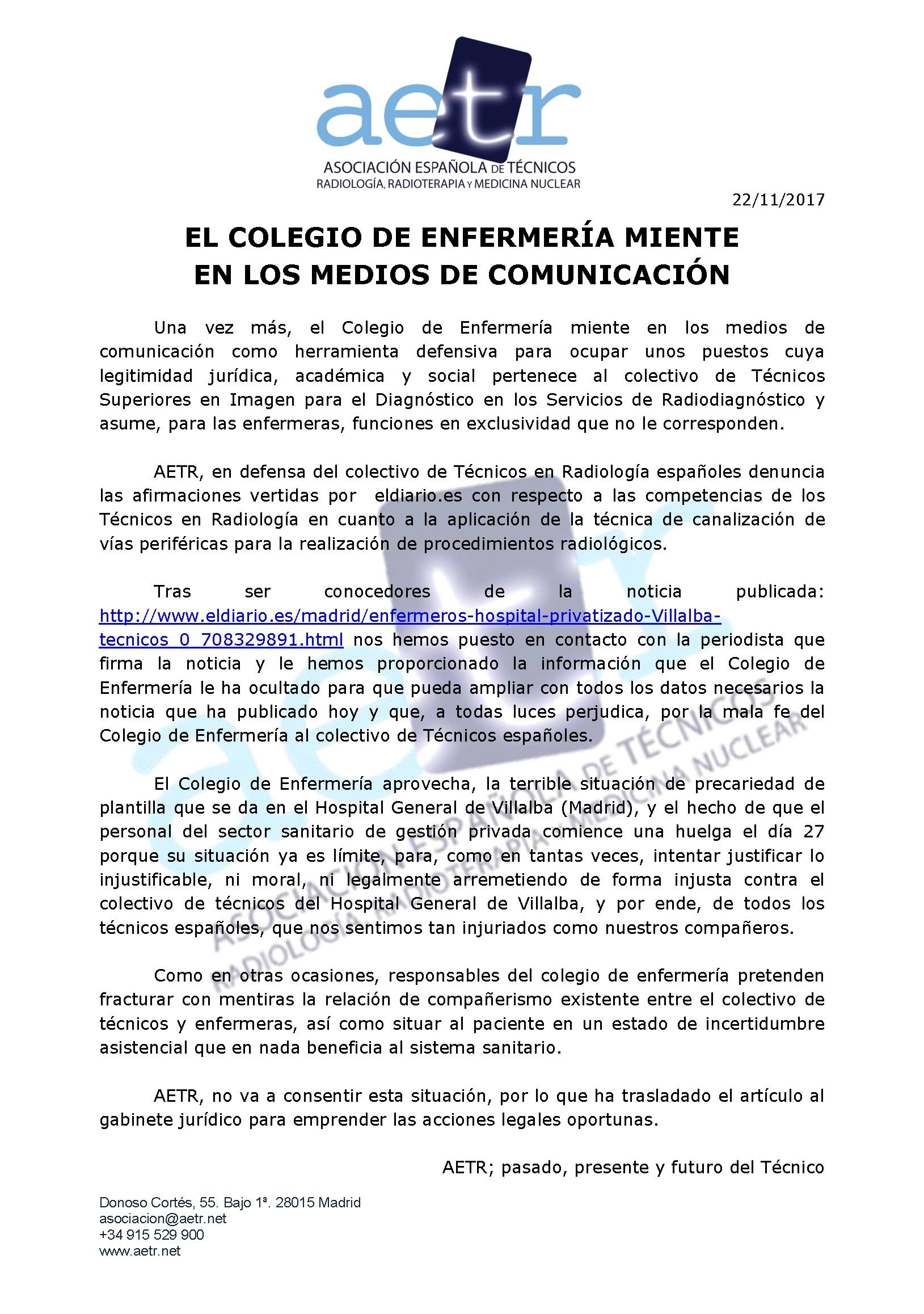 EL COLEGIO DE ENFERMERÍA MIENTE EN LOS MEDIOS DE COMUNICACIÓN