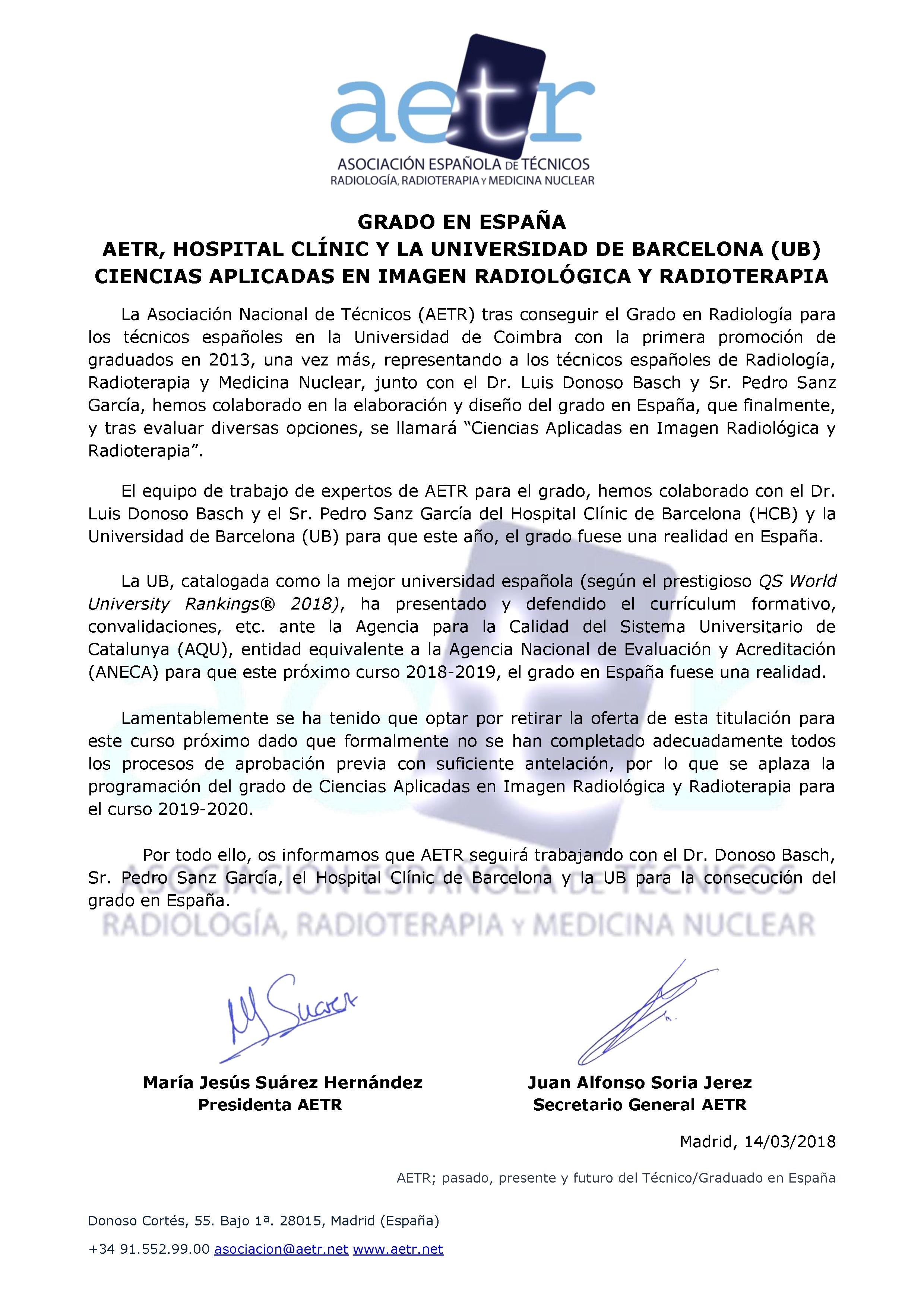 GRADO EN ESPAÑA – AETR, HOSPITAL CLÍNIC Y LA UNIVERSIDAD DE BARCELONA (UB) – CIENCIAS APLICADAS EN IMAGEN RADIOLÓGICA Y RADIOTERAPIA