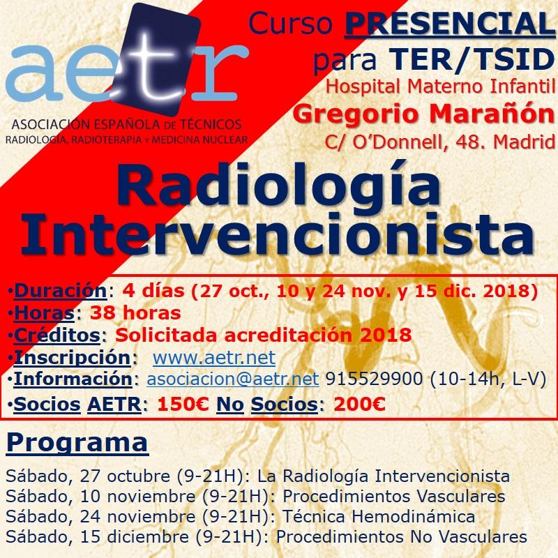"""Curso presencial """"Radiología intervencionista"""" para TER/TSID"""