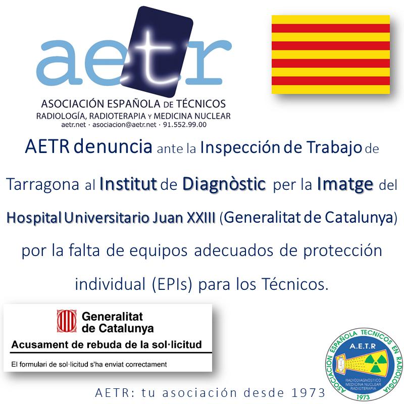 AETR denuncia al Institut de Diagnòstic per la Imatge por la falta de EPI's