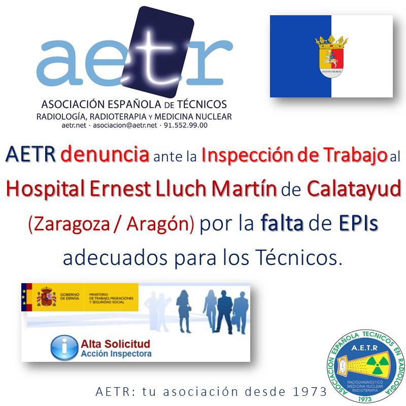 AETR denuncia al Hospital Ernest Lluch Martín de Calatayud (Zaragoza/Aragón) por la falta de EPI's