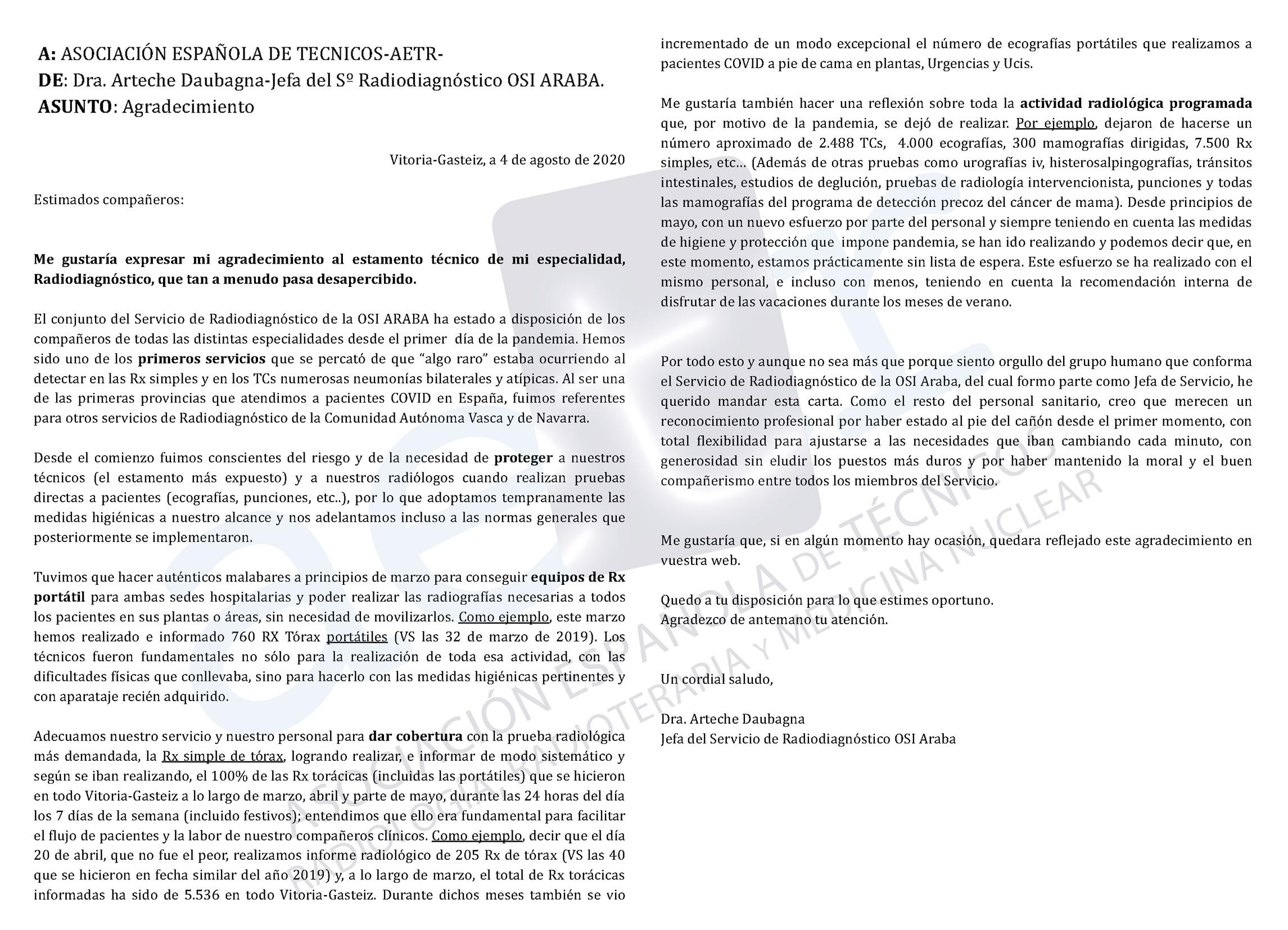 Carta agradecimiento Drª. Arteche Daubagna (Jefa Sº Radiodiagnóstico OSI ARABA) a los TSID por su gran labor y profesionalidad