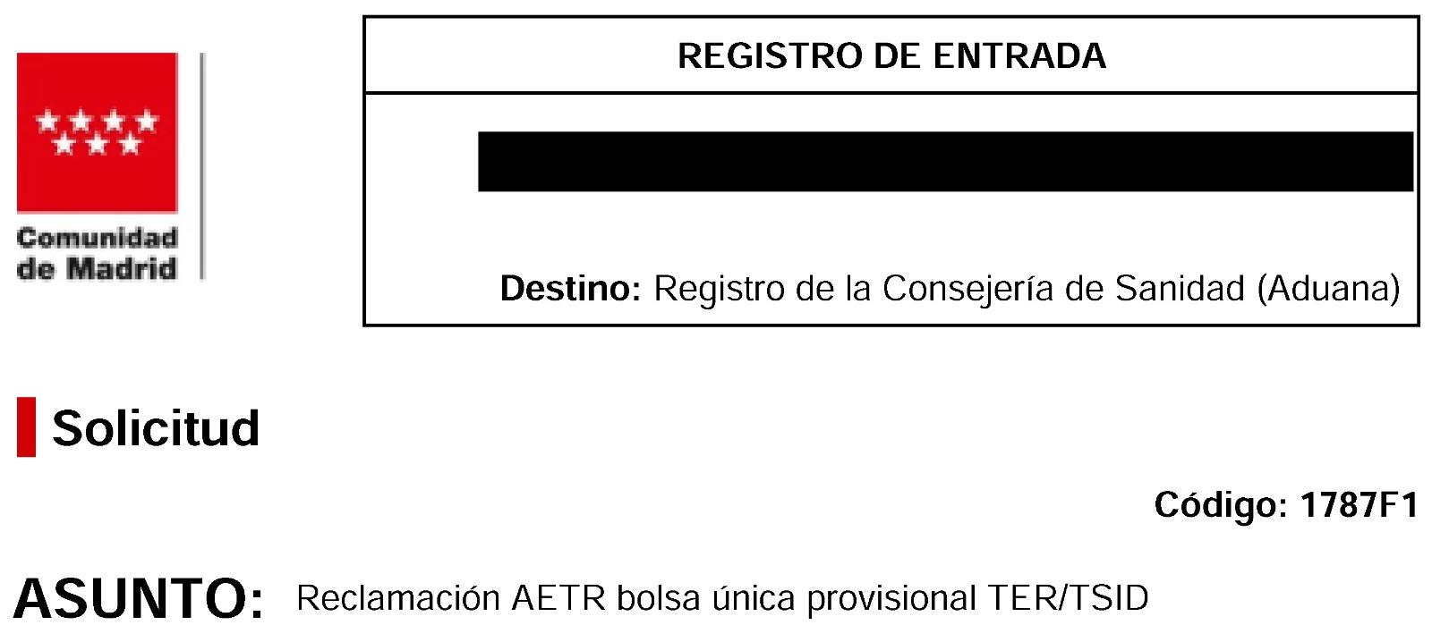 """Reclamación AETR errores publicación """"Bolsa única provisional TER/TSID"""""""