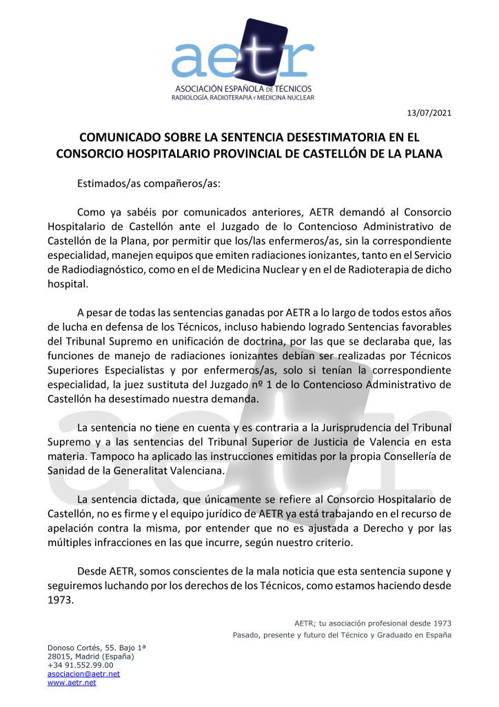 Comunicado AETR sobre la Sentencia Desestimatoria en el Consorcio Hospitalario Provincial de Castellón