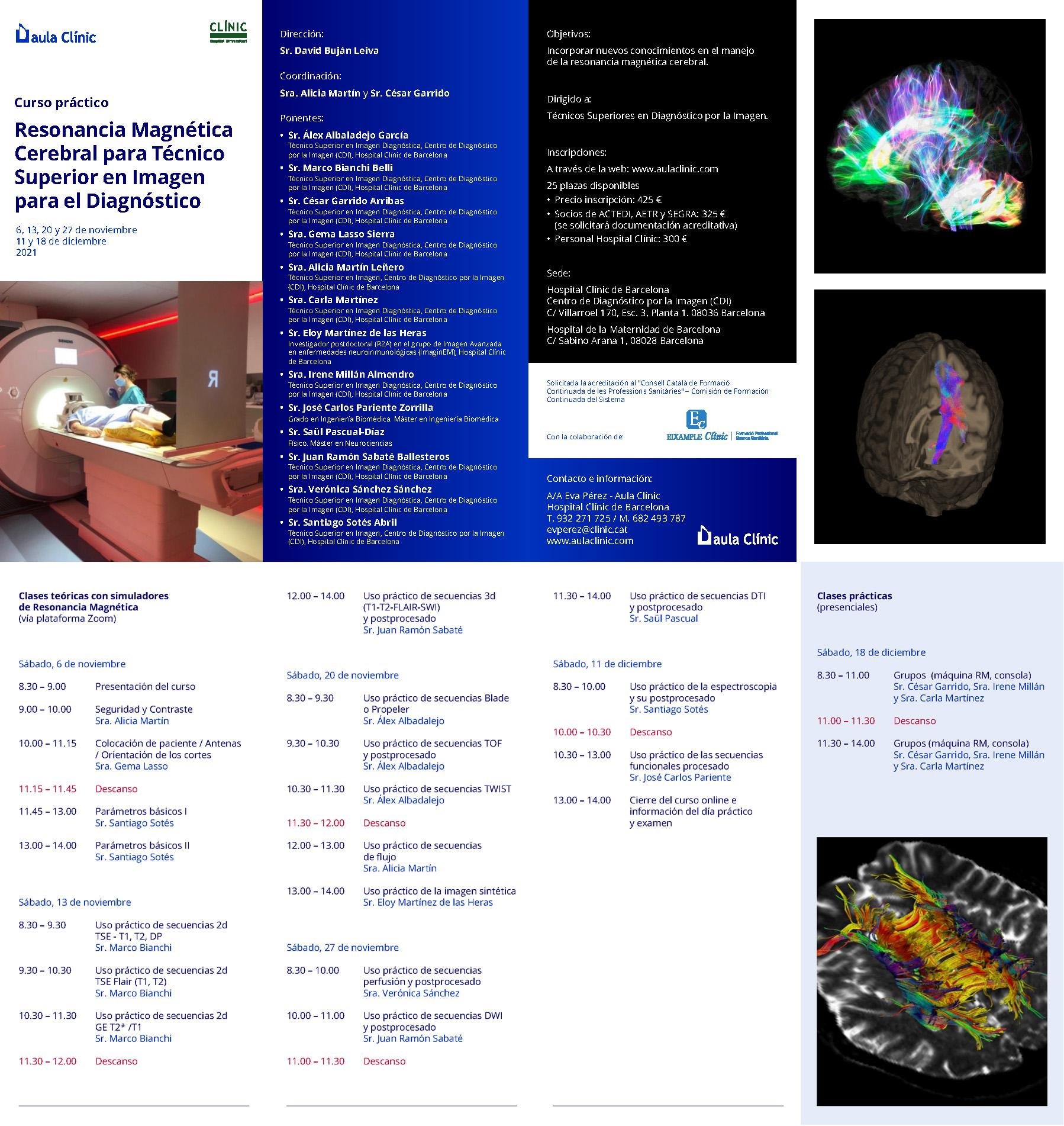 Hospital Clínic de Barcelona – Curso práctico de Resonancia Magnética Cerebral para TSID